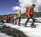 Your glacier guide will lead you across Sólheimajökull, looking for any hidden ravines.