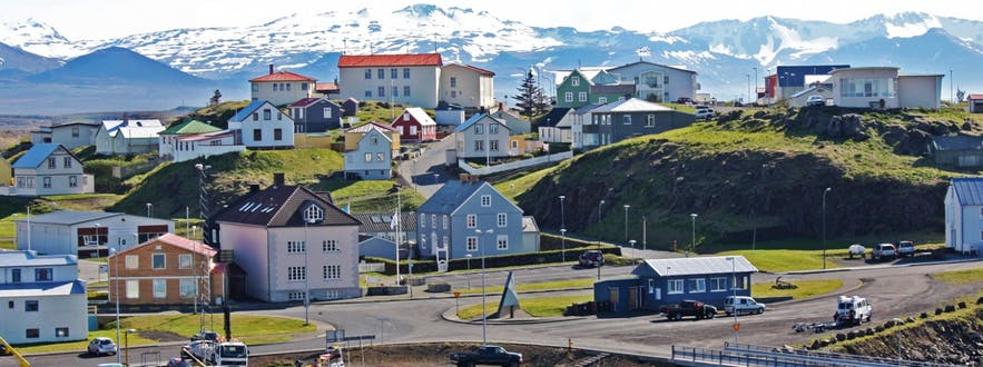 The town of Stykkishólmur on Snæfellsnes peninsula in West Iceland