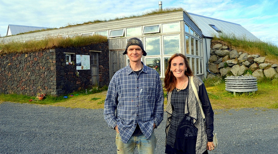 Regína with Hannest at Íslenski bærinn Turf House at Austur-Meðalholt in South-Iceland