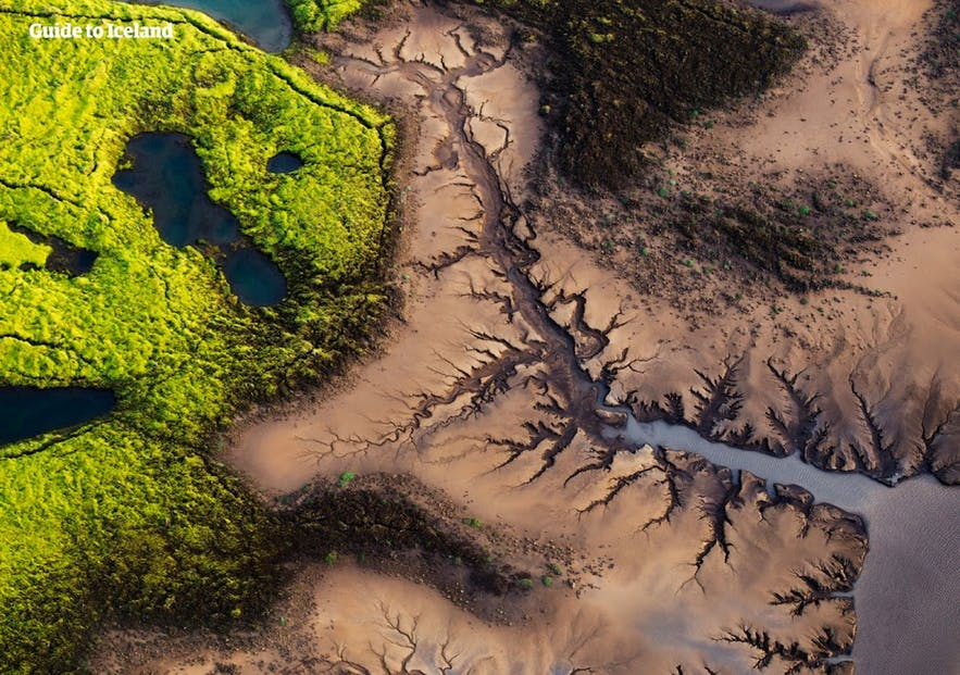 Aerial view of Iceland's highlands