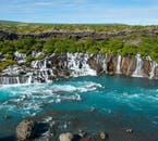 Hraunfossar is a series of waterfalls that can be found just nearby to Barnafoss waterfall.