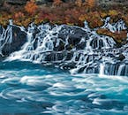 Hraunfossar is not a powerful waterfall, but it is very charming