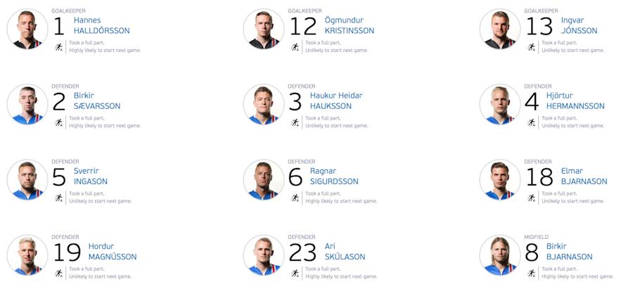 冰島國家足球隊隊員表一