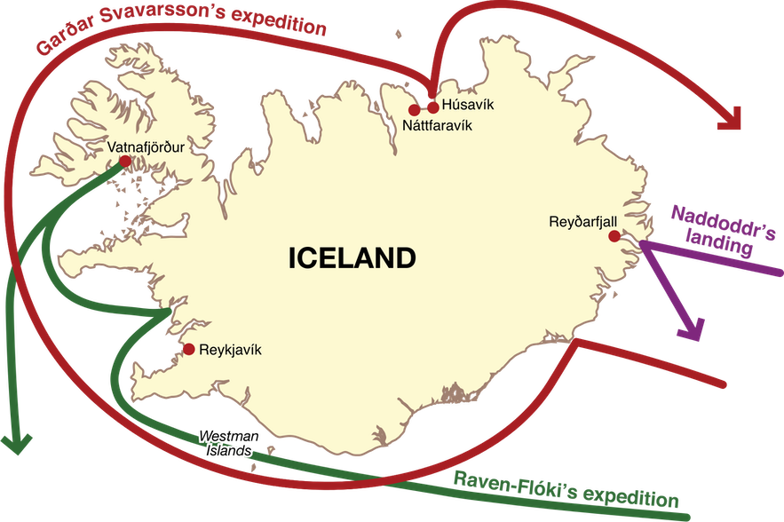 A map depicting the landing places of the first Norseman known to visit Iceland