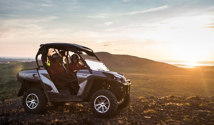A Buggy, otherwise known as an UTV, allows the driver to sit flat and use a steering wheels and pedals.