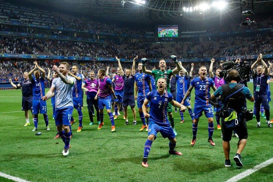 冰島足球隊勝利慶祝