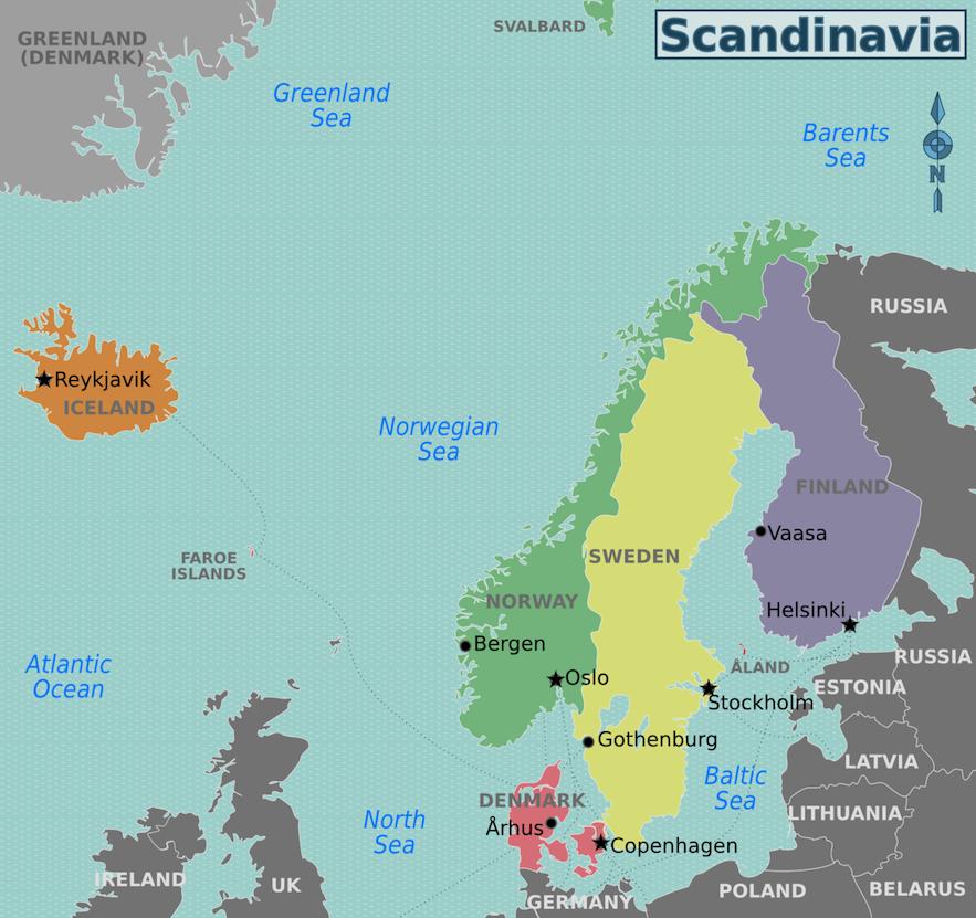 北歐五國地圖