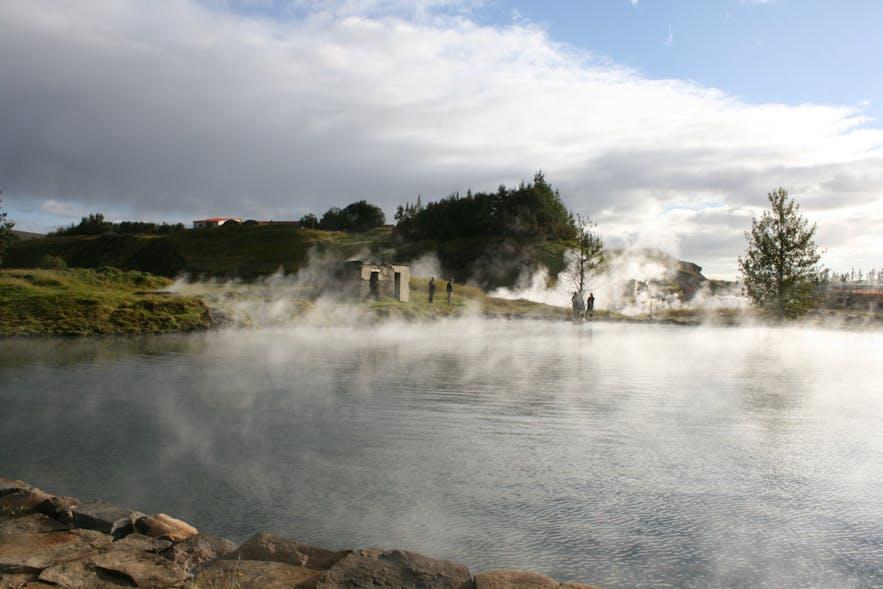 The Secret Lagoon, near Flúðir, has a geyser on site