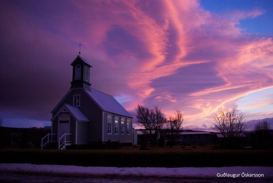 The beautiful church at Reykholt