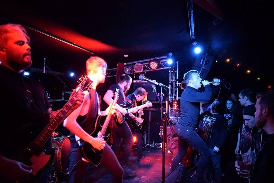 A band performing at Gaukurinn