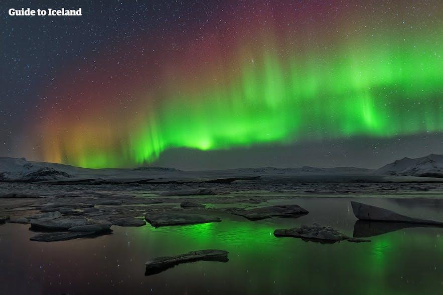 Iceland's most famous glacier lagoon, Jökulsárlón, beneath the Northern Lights.