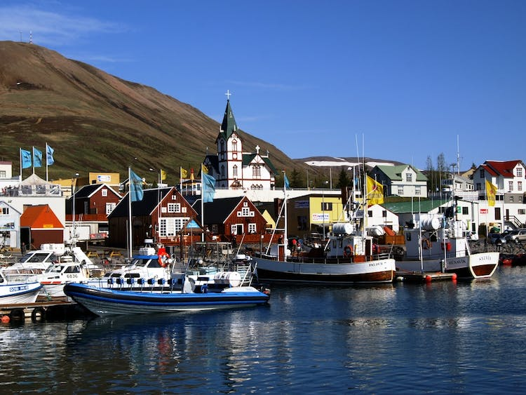 Húsavík is a charming fishing village in North Iceland and often called the whale watching capital of Europe.