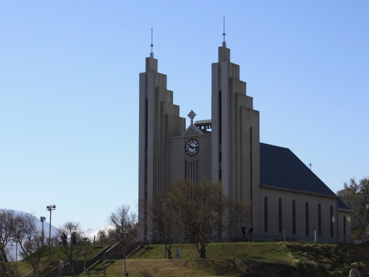 The Akureyri town church was designed by the same architect that did Hallgrímskirkja Church in the centre of Reykjavík.