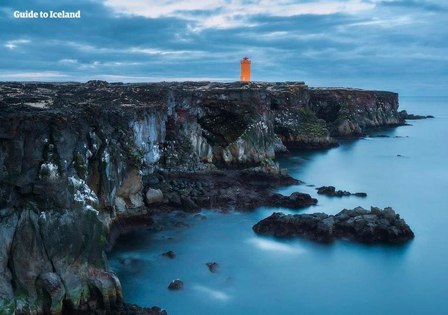 Svörtuloft cliffs and lighthouse on Snaefellsnes peninsula in West Iceland