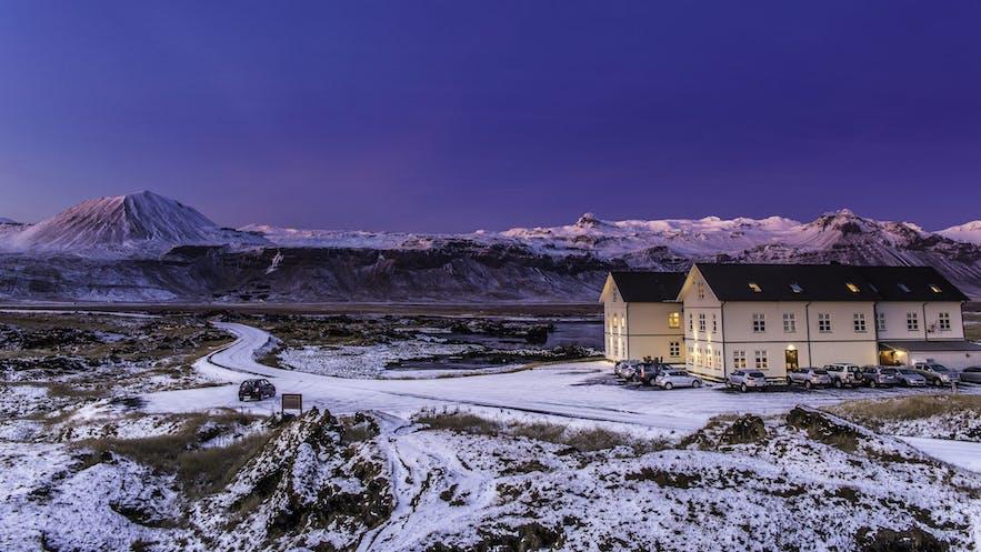 Hotel Búðir at Snæfellsnes peninsula during wintertime