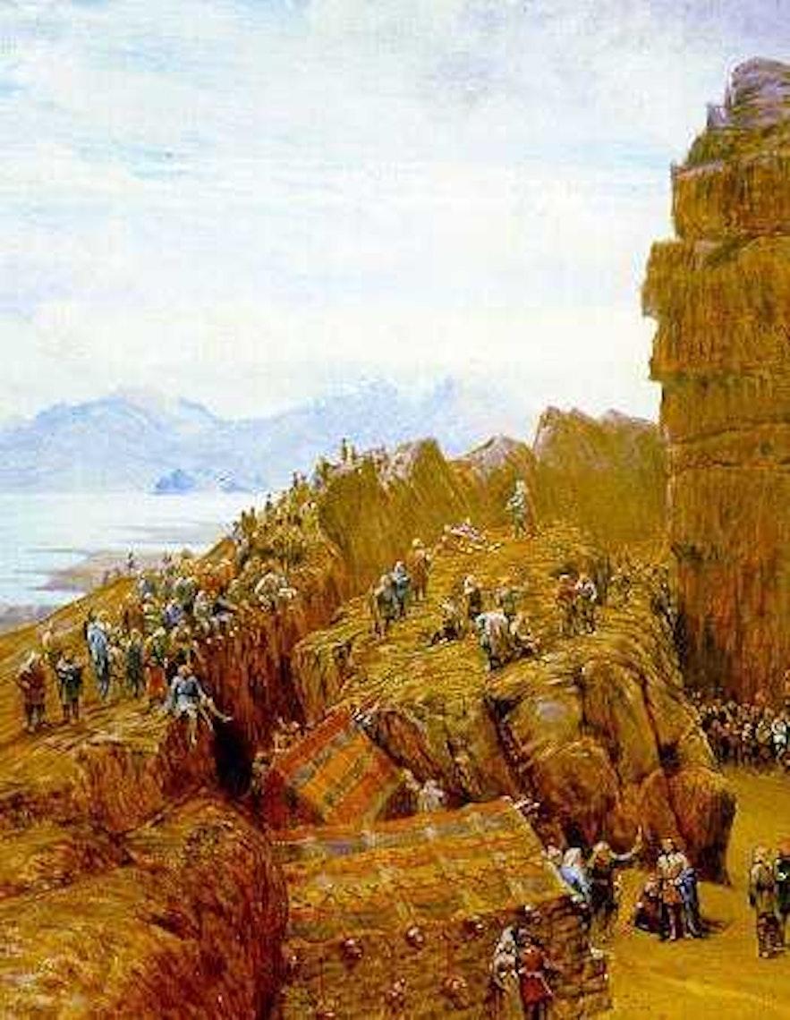 'Althing in Session', ein Gemälde von W. G. Collingwood, zeigt das Alþingi im 11. Jahrhundert.