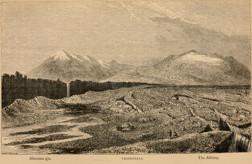 An 1873 illustration of Thingvellir.