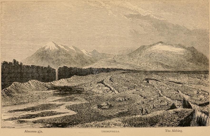 Eine Zeichnung von Þingvellir aus dem Jahr 1873.