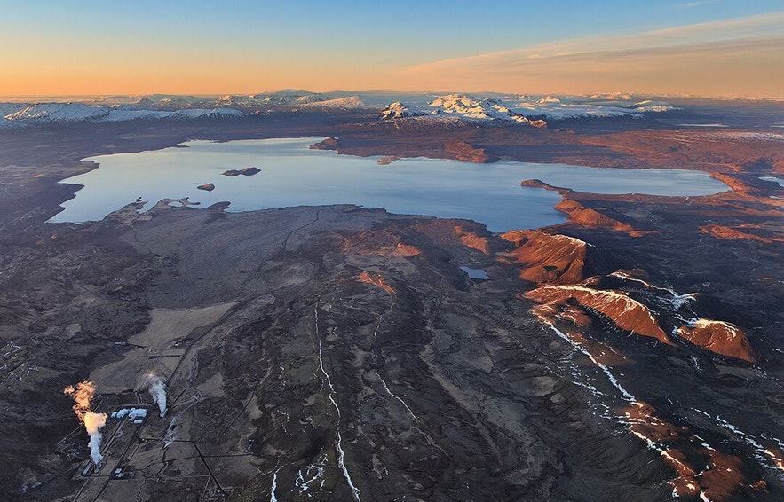 Aerial view of Þingvellir National Park in wintertime