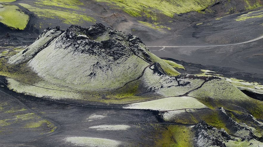 Lakagígar (the Laki craters) is a volcanic fissure that lies between the glaciers Mýrdalsjökull and Vatnajökull.