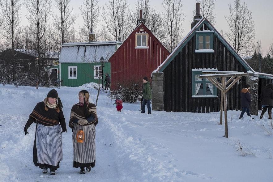 Jul på Árbæjarsafn folkemuseum i Reykjavík