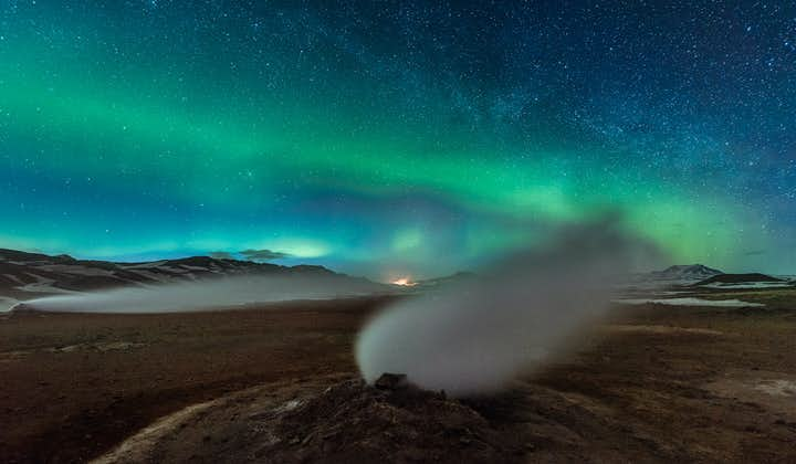 North Iceland's Námaskarð pass under the northern lights.