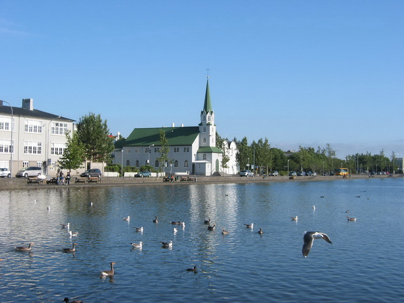 Reykjavik downtown lake and church