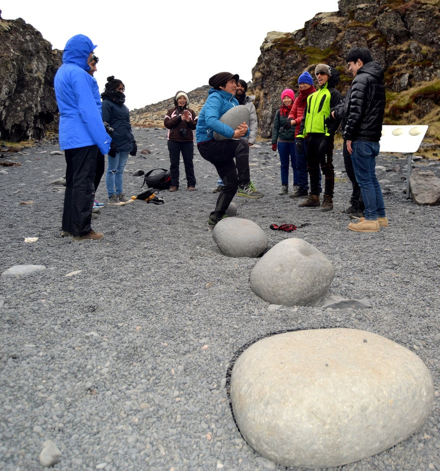 Trying out the lifting stones