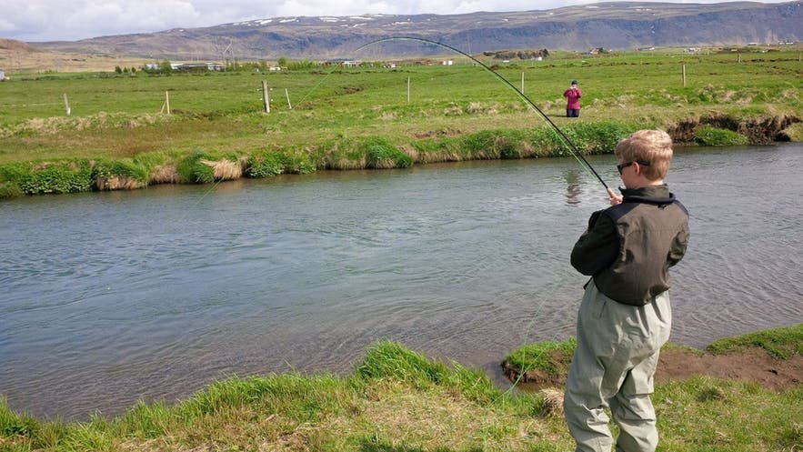 Kids can fish for free with an adult holding a Lake License