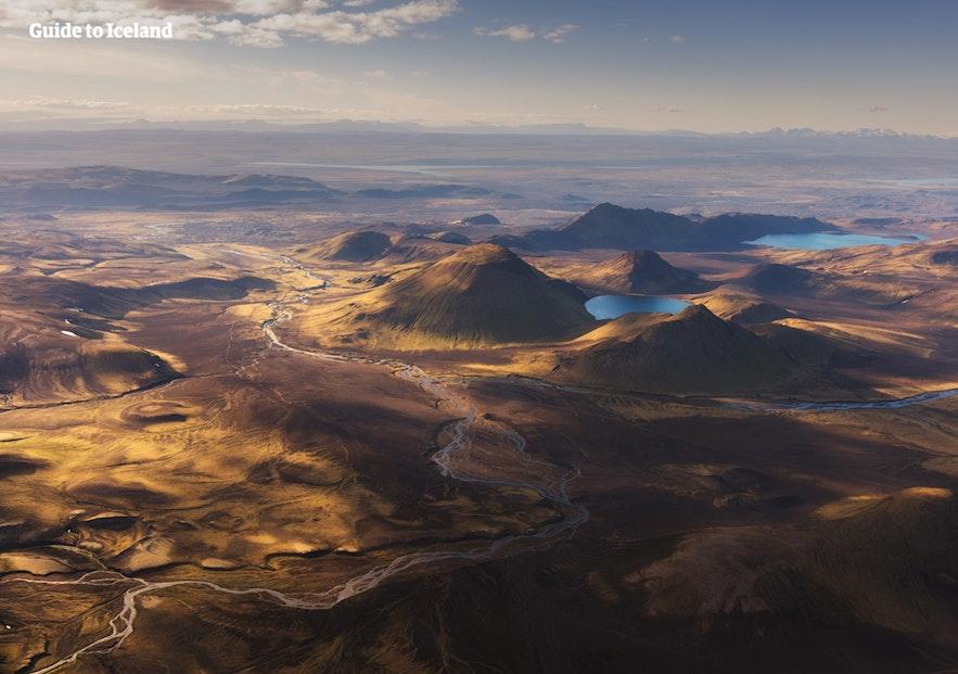 Islandzki interior, zdjęcie z lotu ptaka