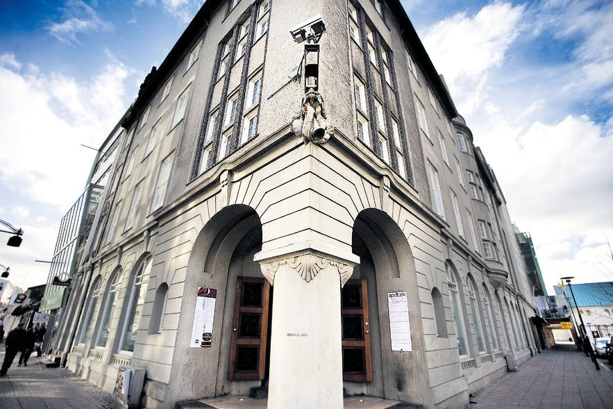 Einar Jónsson, Iceland's most celebrated sculptor, created the troll bust statue mounted on the corner of the building