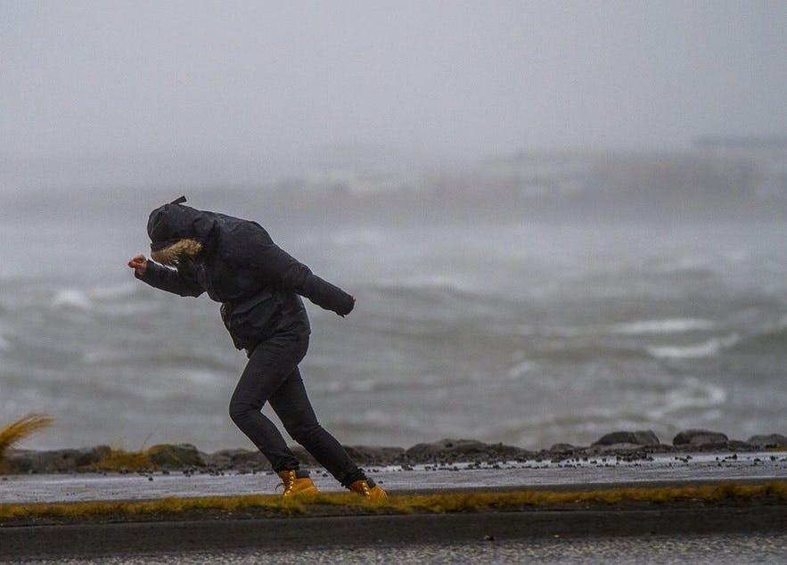 La pluie est souvent accompagné de vent en Islande : ne prenez pas de parapluie