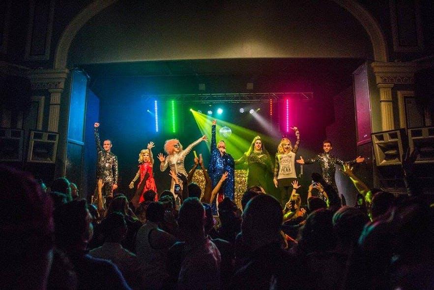 Starina, Gogo Starr, Pixy Strike and Ragna Rök all performing with Páll Oskar at Reykjavík's Rainbow Festival