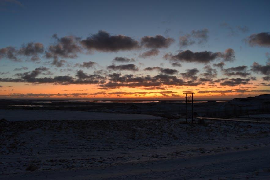 朝焼けが美しいアイスランド南部