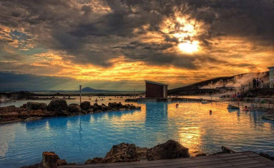 The Mývatn Nature Baths beneath the midnight sun