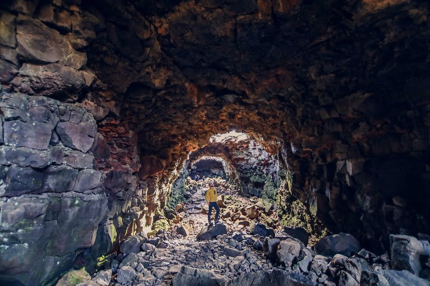 Within Raufarhólshellir, one of Iceland's longest lava caves.