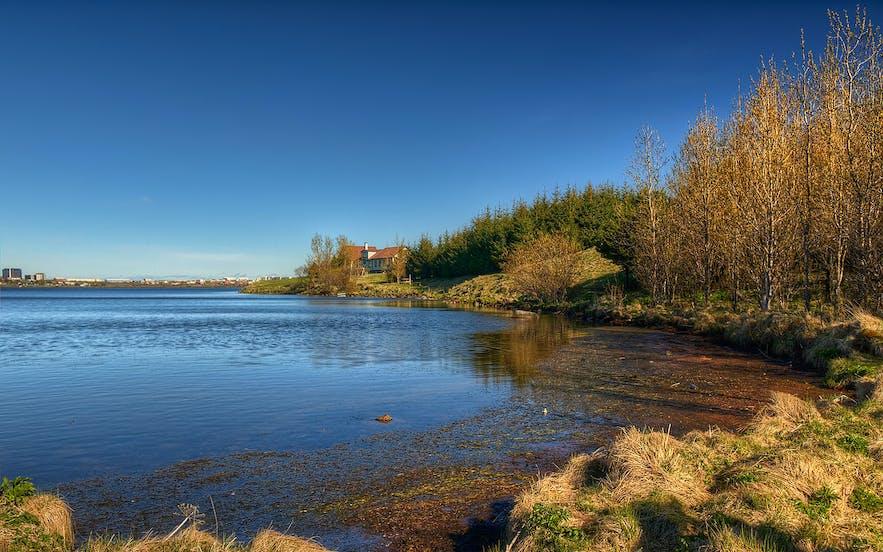 Elliðavatn Lake in autumn.