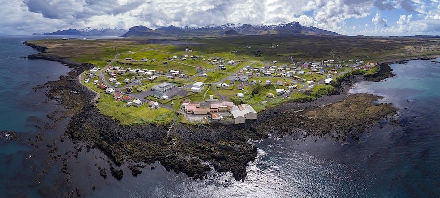 An ariel view of Hellissandur