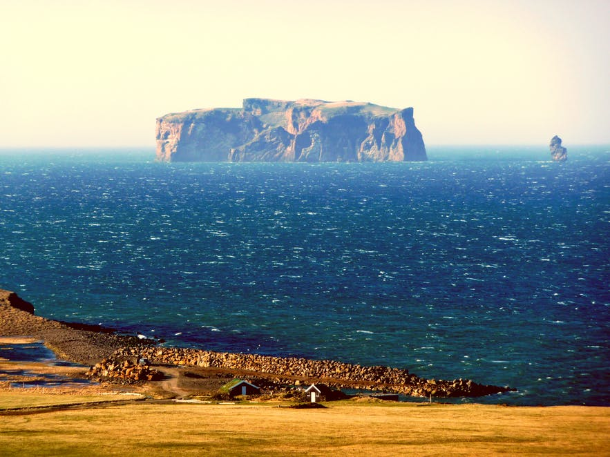 View of Drangey from Iceland's coastline