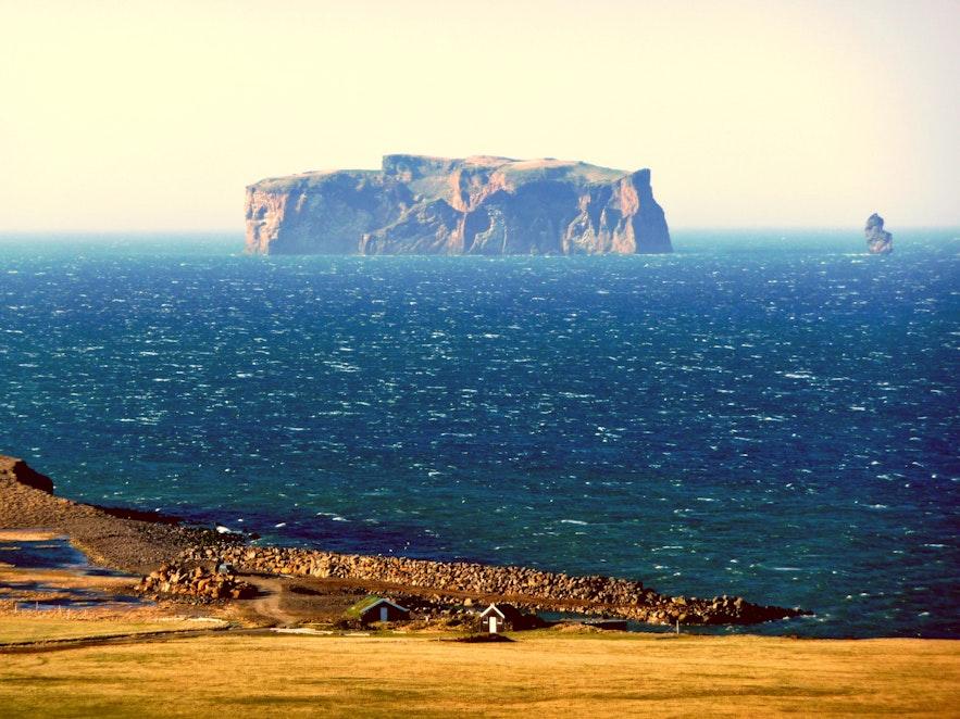 View of Drangey from Iceland's coastline