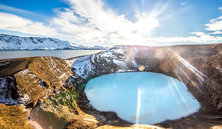 Askja is a caldera filled with aquamarine water.