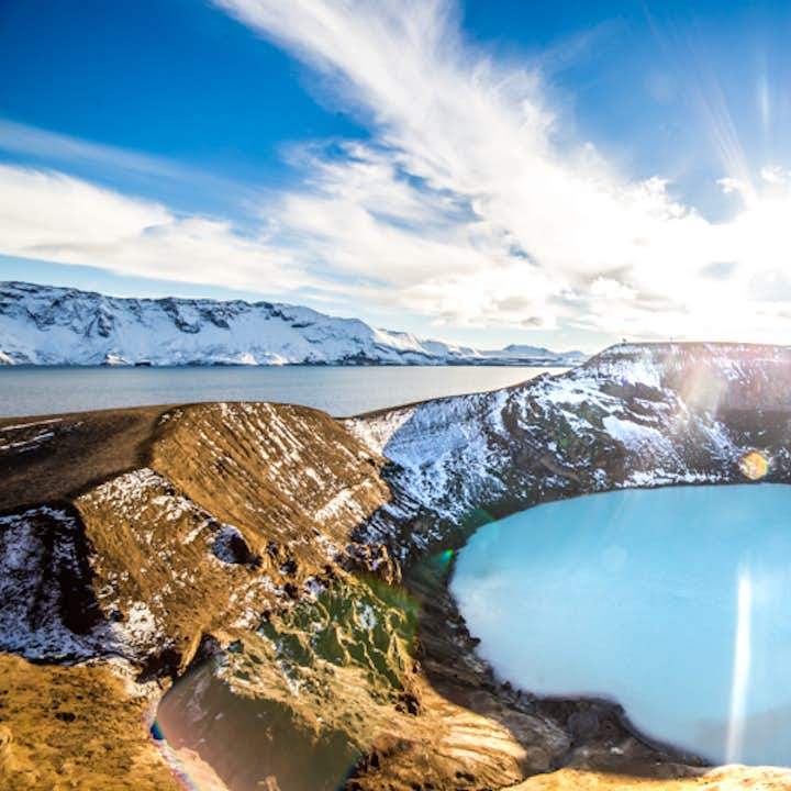 Askja is a caldera filled with aquamarine water.