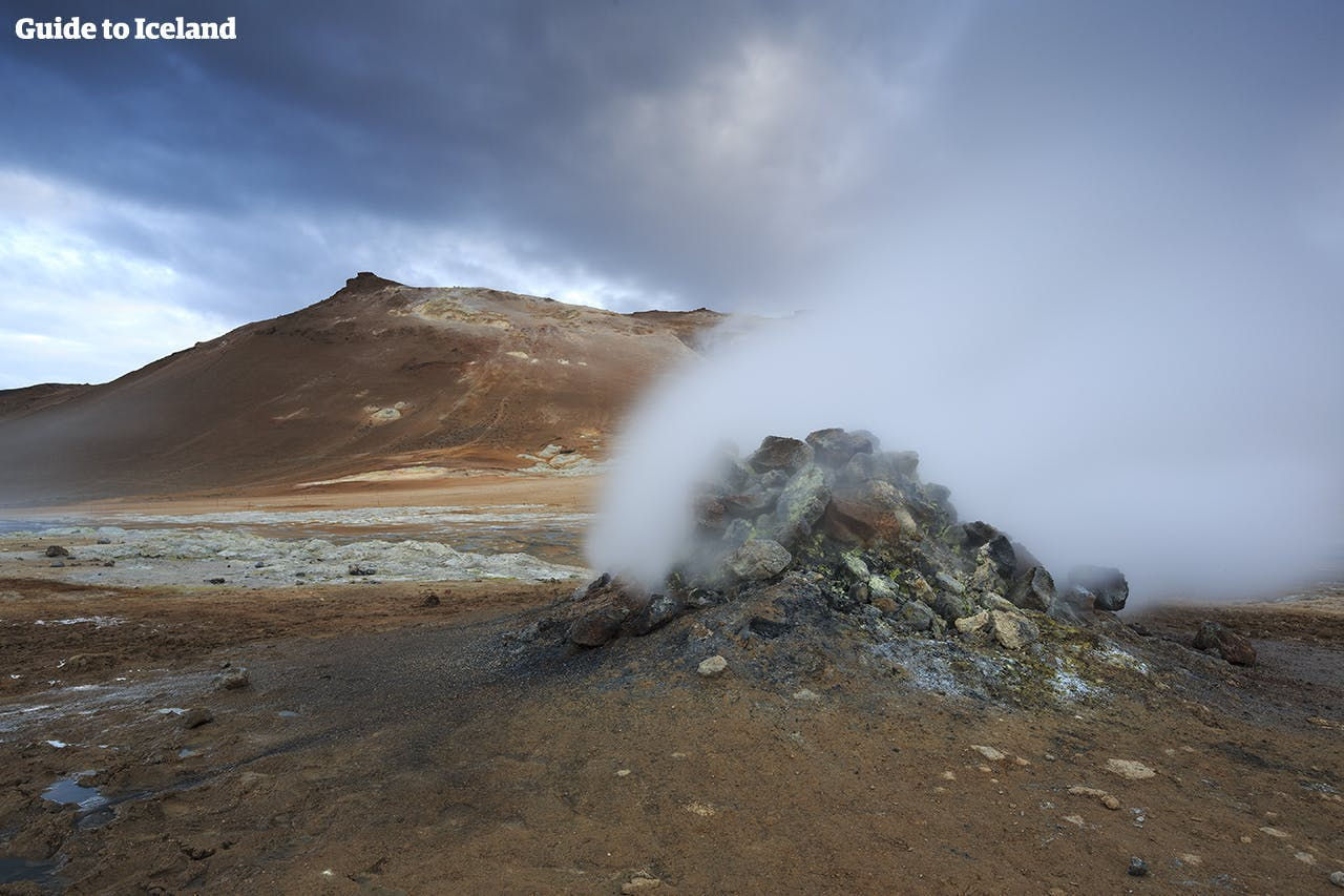 The volcanic landscapes of North Iceland include sizzling craters and bubbling mud pools