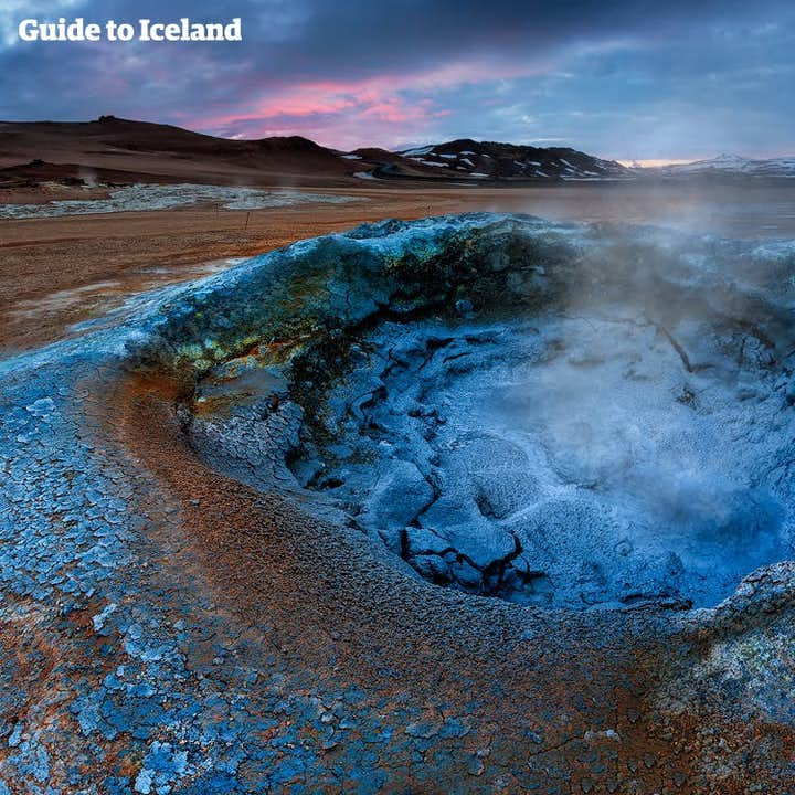 This bubbling pseudocrater is located in the Lake Mývatn area in North Iceland.