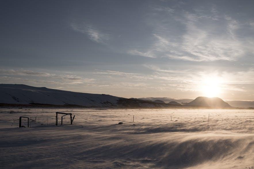 Winterlandschaft unterhalb der Hekla