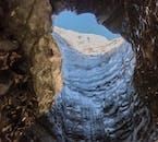 Blue skies above Katla ice cave.