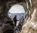 Katla ice cave's entrances can block up with snow, but your guide should be able to dig a way in.