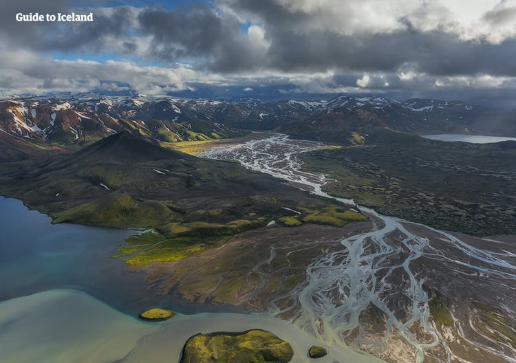 An aerial view over Landmannalaugar in the Central Highlands of Iceland.