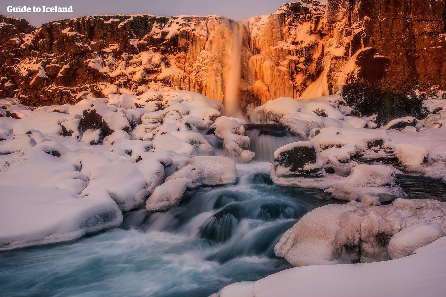 Öxárfoss-vattenfallet ligger i Þingvellir nationalpark längs Gyllene cirkeln