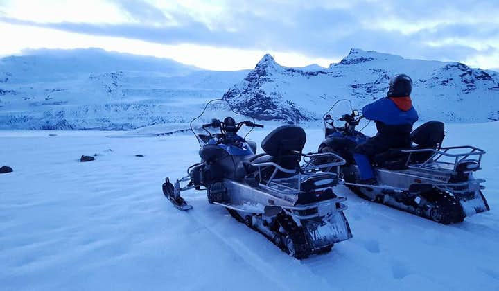Snowmobiles will take you across the snowy plains of Vatnajökull glacier.